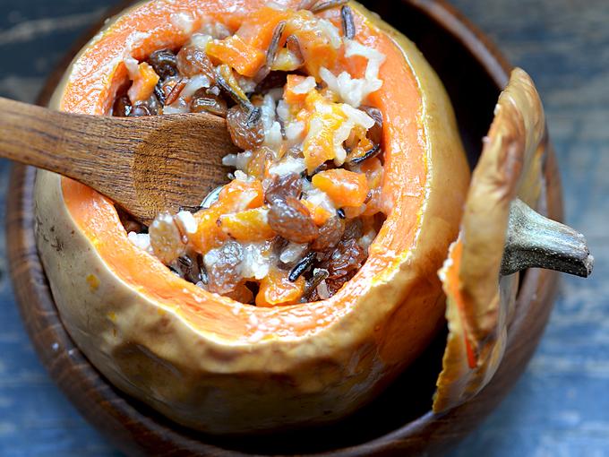 Блюда из тыквы в горшочках